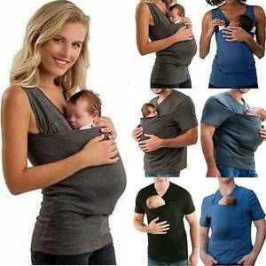 Mom Dad Baby Carrier Kangaroo Pocket T-Shirt Women Maternity Pregnant Top Vest