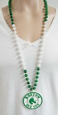 BOSTON RED SOX SPORT BEADS GREEN & WHITE NECKLACE MARDI GRAS WITH MEDALLION NEW
