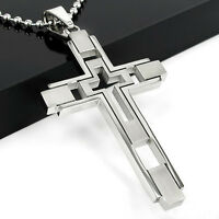 Geschenk Unisex Männer Frauen Junge Silber Edelstahl Kreuz Anhänger Halskette