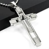 Unisex Boy Silver Stainless Steel Cross Pendant Necklace For Men Women Gift