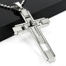 Gift Unisex Men's Women Boy Silver Stainless Steel Cross Pendant Necklace