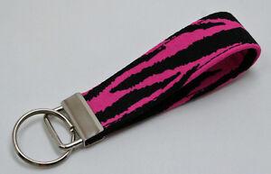 Hot Pink Zebra Tiger Animal Print Key Chain Ring Fob Handmade Custom Designer
