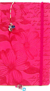 Pink Embossed Dogwood Leather-like Journal & Handmade Bookmark Book Lover Gift