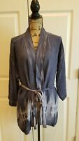Cloth And Stone Anthropologie Gray Blue Tie Dye Belted Top Tunic Oversized XS