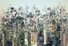 CITY URBAN JUNGLE SKYLINE FLOWERS SHADOWS Photo Wallpaper Wall Mural 368x254cm