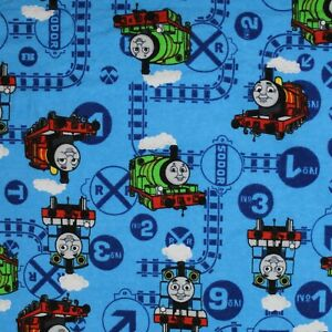 """Thomas Train 100% Brushed Cotton Soft Touch Fabric Premium 44"""" Wide Printed DIY"""