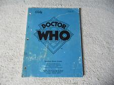 Doctor Who Bally Pinball arcade game manual