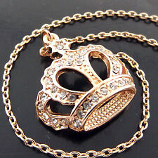 NEKCLACE PENDANT CHAIN 18K ROSE G/F GOLD DIAMOND SIMULATED ROYAL CROWN DESIGN