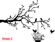 'Tree Branch with Birds & Cage' Wall Art Vinyl Sticker, Wall Decal- HIGH QUALITY