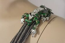 Animal Green Frog Broach Toad Charm Women Silver Metal Shoulder Pin Body Jewelry