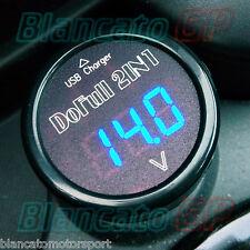 PRESA USB E VOLTMETRO PER AUTO CAMION 12V 24V caricabatterie cellulare LED BLU