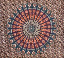 Indian peacock mandala tapestry wall hanging bohemian bedspread queen size throw