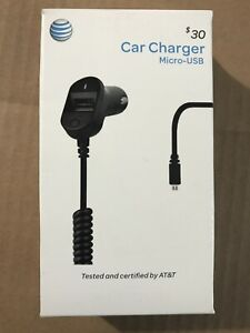 PREMIUM AT&T 3.4 Amp Micro-USB Dual Port Fast Car Charger For Samsung Android LG