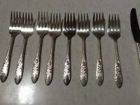 National Silver Co A1   Silverplate   ROSE and LEAF   Set of 8  SALAD FORKS