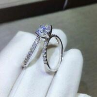 2.55ct Round Cut Diamond Engagement Ring Wedding Band Ring Set 14K White Gold FN