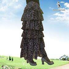 SHARON TANG Modest Apparel Long Chiffon Colorful Dot Layer Ruffle Maxi Skirt S