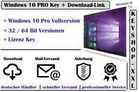 Windows 10 Pro * 32 / 64 Bit Vollversion   Win 10 Key Aktivierungsschlüssel Mail