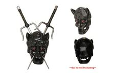 Japanese Kami Black Demon Mask Sai Martial Art Wall Mount Holder NIB