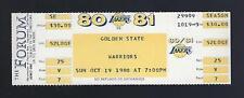 1980-81 NBA GOLDEN STATE WARRIORS @ LA LAKERS FULL UNUSED BASKETBALL TICKET
