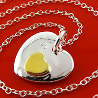 A968 GENUINE REAL 925 STERLING SILVER S/F & GOLD HEART PENDANT NECKLACE CHAIN