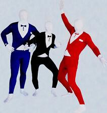 Mens Tuxedo Bucks Party Zentai Full Body Skin Suit Fancy Dress Costume All Sizes