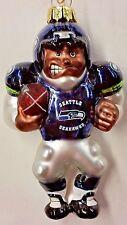 NFL Seattle Seahawks FOOTBALL PLAYER Blown Glass Ornament, NEW