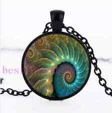 Fibonacci Spiral Photo Cabochon Glass Black Chain Pendant Necklace