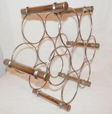 Vintage Mid Century Modern Metal Wine Rack Stainless Sturdy Table Top Bar ware
