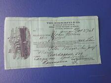 1928 Hirschfeld Steamship Receipt, Ship Illustration, Detroit, Michigan