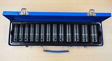 "1/2"" Dr Deep Impact Socket Set Metric Thin Wall 13 Sockets 11 – 32mm 14 Pc"