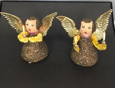 Angel's Putz Christmas Decoration 2 Figurines Gold Glitter West Germany Wings