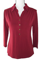Charter Club Size S Burgundy Quarter Button Collared Stretch Blouse