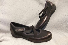 Munro American Brown Bronze Leather Mesh Mary Jane Loafers Shoes Womens Sz 7.5 M