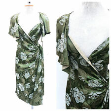 Vintage VTG 1930s 30s Green Metallic Brocade Wrap Dress with Caplet