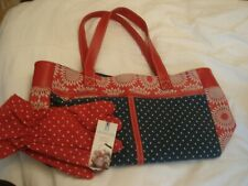 country living gardening tote carry bag and gloves brand new red navy