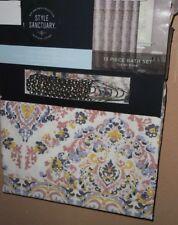 Style Sanctuary 13Pc Fabric Shower Curtain & Hooks Set New 72 X 72 Cotton Blend