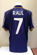 Real Madrid Away Shirt Jersey RAUL 7 1998 1999 Large L Blue Teka Adidas Spain