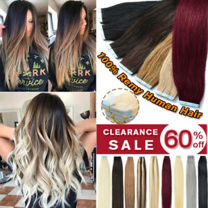 """CLEARANCE Tape in 100% Remy Human Hair Extensions Full Head Skin Weft 10-24"""" iii"""