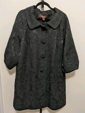 Victor Alfaro Women's Plus Coat Black Opera Button Pocket Puff 3/4 Sleeve 22W