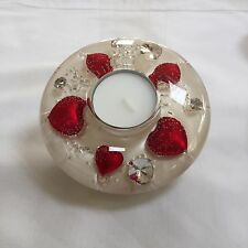 GLASS CANDLE HOLDER WITH FLORAL DESIGN (Mini) Red heart