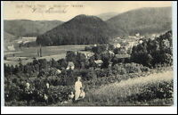 BAD THAL Thüringen 1912 Blick vom Paradies mit Personen im Feld Fernansicht Dorf
