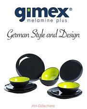 Gimex Melamin 12-tlg Camping Geschirr Set Grey Line Lime green Lemon green