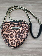 Betsey Johnson Crossbody Heart Purse Bag Black w/Gold Chain Leopard print