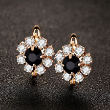 Flower Style Black Onyx White Topaz Gems Yellow Gold Plated Stud Hook Earrings