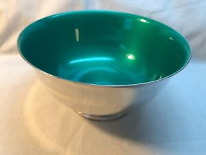 Vintage Reed & Barton Silverplated Bowl #1120 Green Enamel Interior - EC