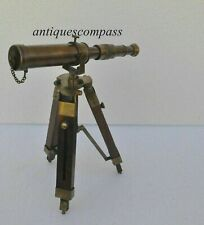 """10"""" ANTIQUE Decorative Collectible Decor Solid Brass Telescope with Tripod Stand"""