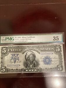 1899 $5 Large Size Silver Certificate Indian Chief  PMG 35 Choice VF