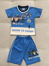 Piccolino Shorts Short Outfit Size 12 Month Blue With Car Boys Toddler