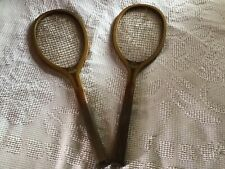 Two Vintage Antique Wood Tennis Rackets Horace Partridge Company Boston Junior