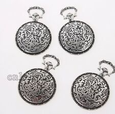 50x Wholesale Ancient Silver Pocket Watch Shape Charms Alloy Pendants Findings C